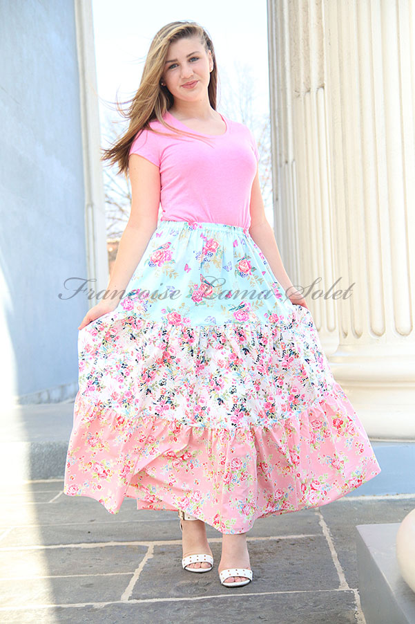 Womens pink blue romantic floral long boho maxi tiered skirt Amelie