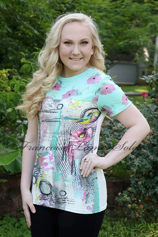 Artsy floral t-shirt with birds handmade with urban graphic cotton jersey and hand painted with pink flowers - Amy's Birds