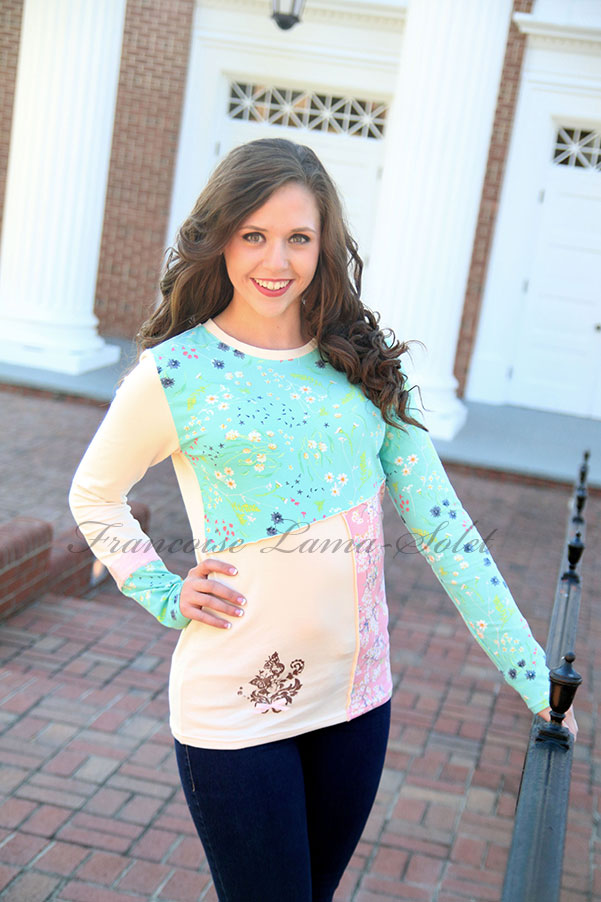 Romantic artsy pink ivory mint patchwork long sleeve t-shirt Angelina