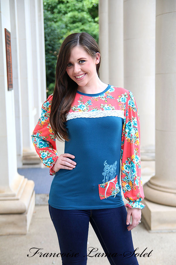 Fall colors long puff sleeves t-shirt pumpkin dark teal floral jersey top Autumn