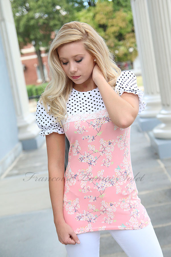 Womens romantic polka dot floral pink puff sleeve T-shirt Beatrice