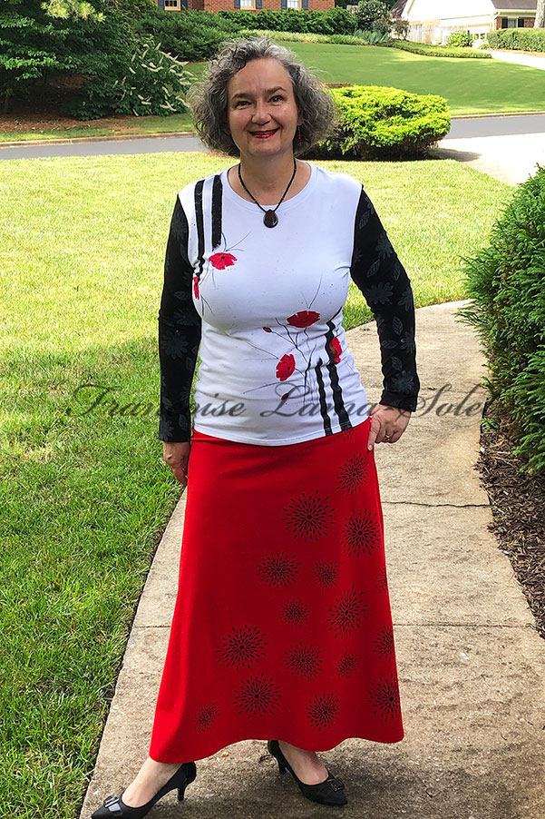 Modern wearable art a line maxi long skirt handmade with red cotton lycra jersey and hand printed with black patterns – Black Stars
