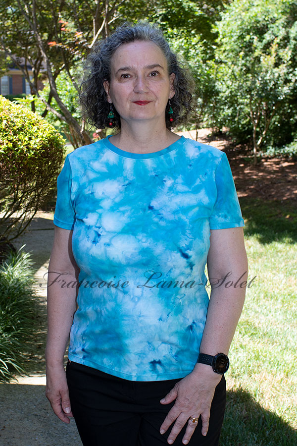 Women's wearable art blue and turquoise short sleeve t-shirt handmade with hand tie dyed iced dyed cotton lycra jersey - Blue Bay