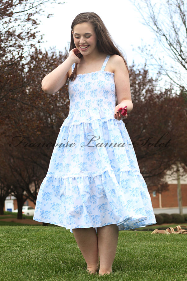 Women's spring summer floral blue white romantic chic tiered sundress Blue Bouquets