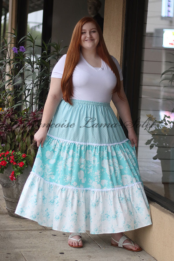 Boho shabby maxi tiered skirt handmade with romantic chic teal and white floral cotton prints and white lace trim, with elastic waist – Blue Roses