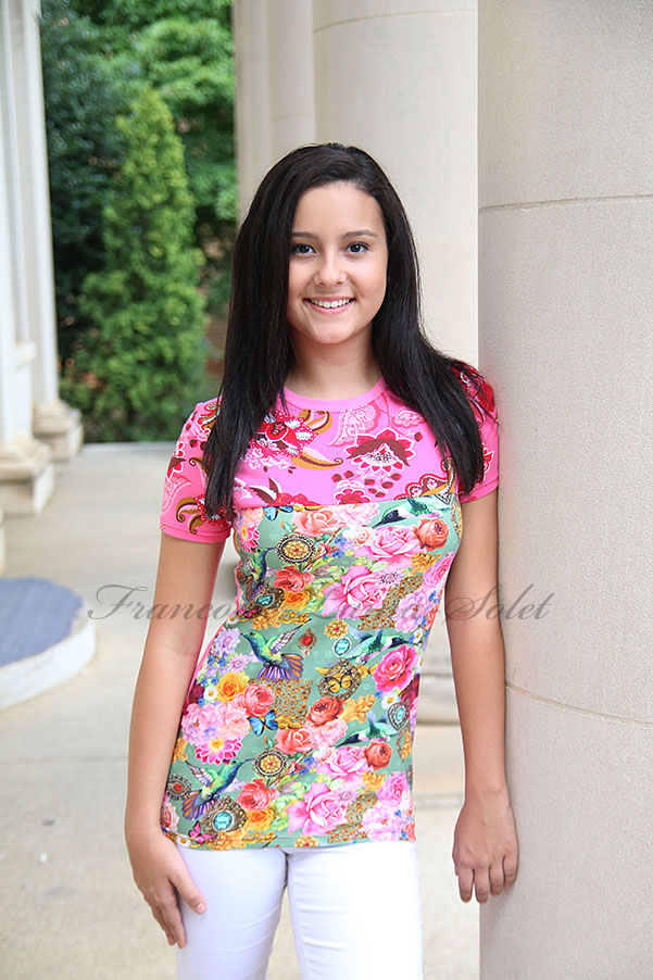 Womens colorful boho pink green floral short sleeve t-shirt top Boheme
