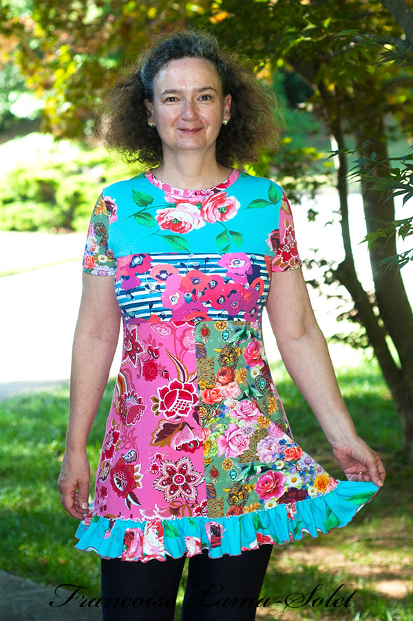 Womens colorful bohemian patchwork tunic artsy floral ruffled top Boheme