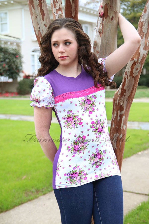 Womens purple white puff sleeve floral cotton t-shirt Bouquet de Violettes