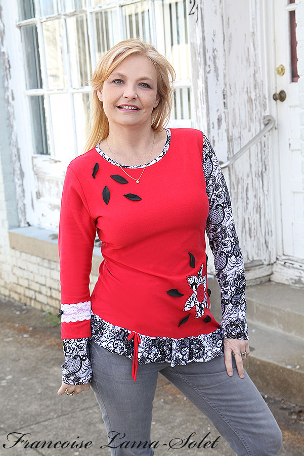 Womens asymmetrical red black white applique long sleeve ruffled top Carmen