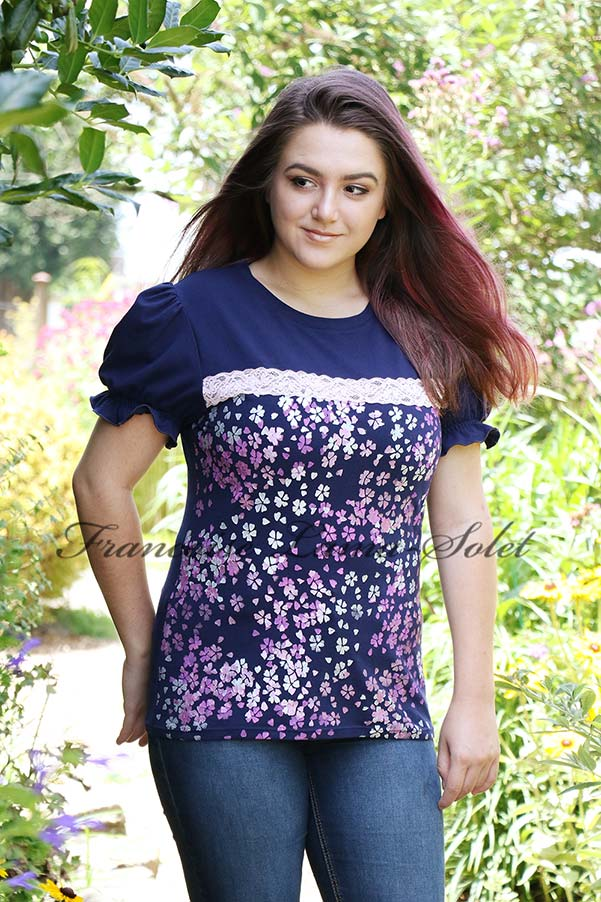 Hand Printed Navy Pink Puff Sleeve Tshirt Wearable Art Cherry Blossom Festival