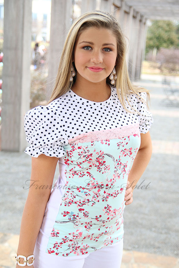 Cherry Blossom romantic pink blue puff sleeve t-shirt polka dot top