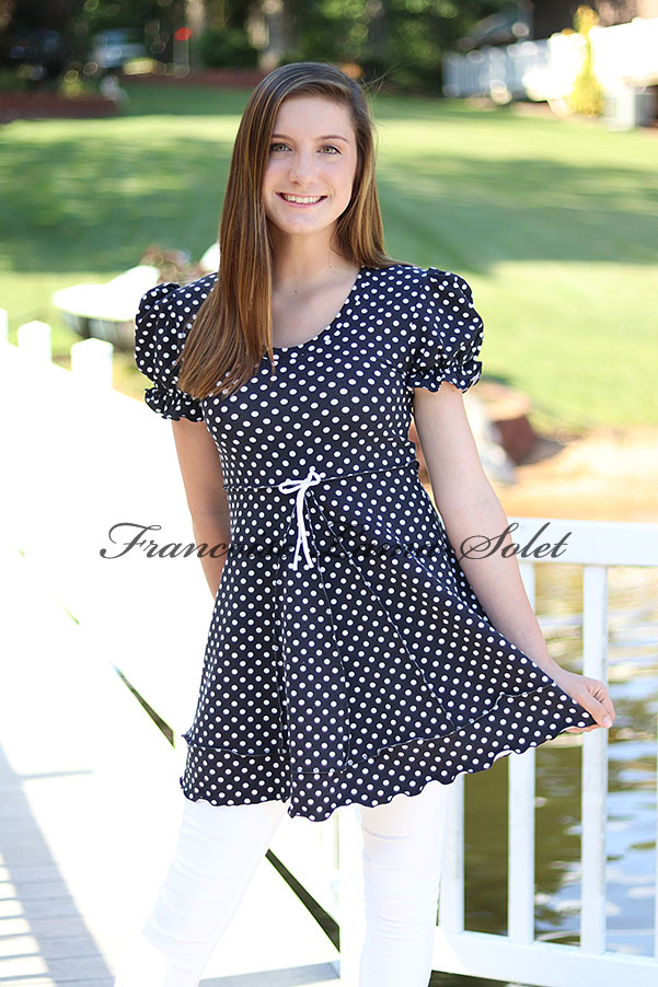 Black and white polka dot retro puff sleeve tunic swing top Clara