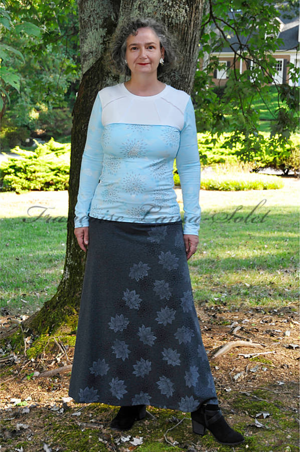 Womens artsy maxi skirt handmade with dark charcoal grey cotton lycra jersey and hand printed with lotus flower and star patterns – Cozy Winter