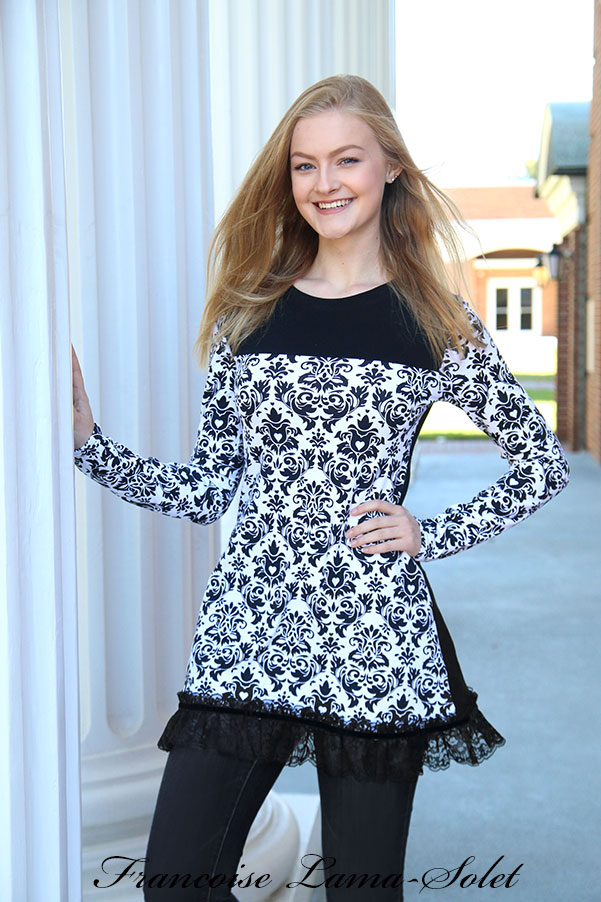 Black and white long sleeve A line formal tunic top short dress Damask