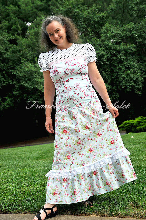 Shabby roses blue pink ruffled country chic A line maxi skirt Delilah