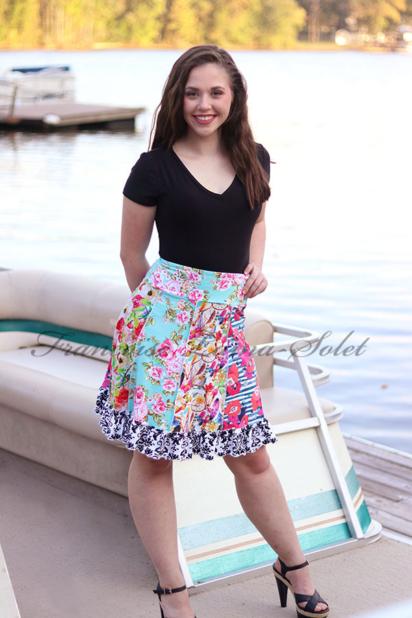Modern colorful boho patchwork ruffled jersey skirt Dreamcatcher