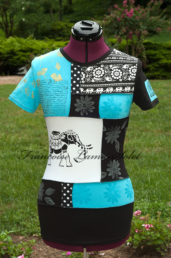 Womens urban recycled patchwork t-shirt top short sleeve tee Elephant