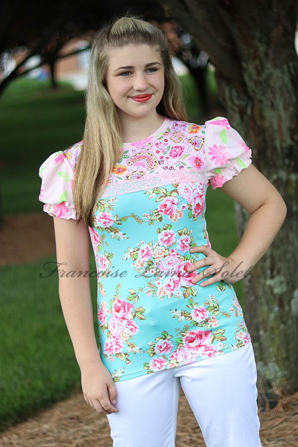 Women's colorful floral pink green puff sleeve t-shirt top Emerald Bouquet