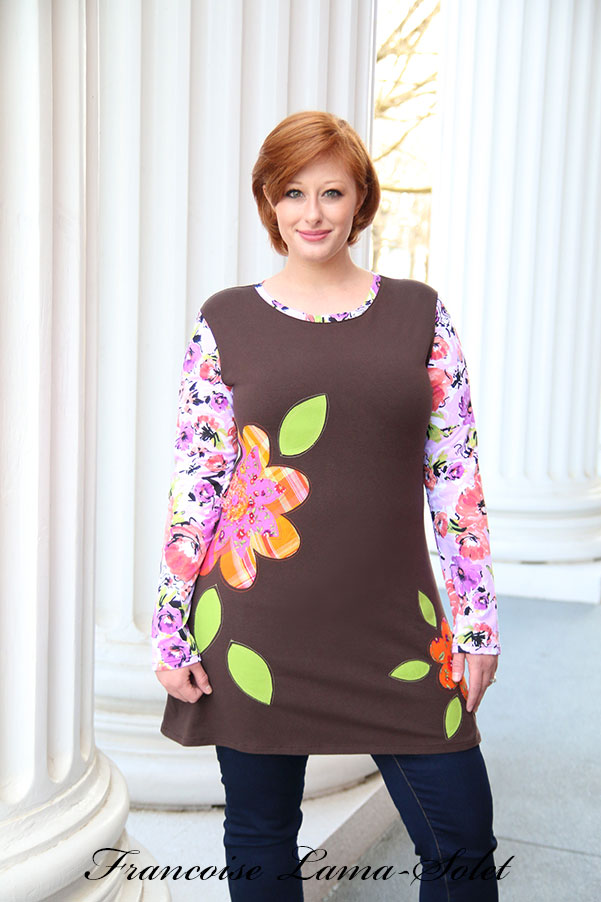 Brown purple long sleeve appliqued floral jersey tunic dress Fall Flowers