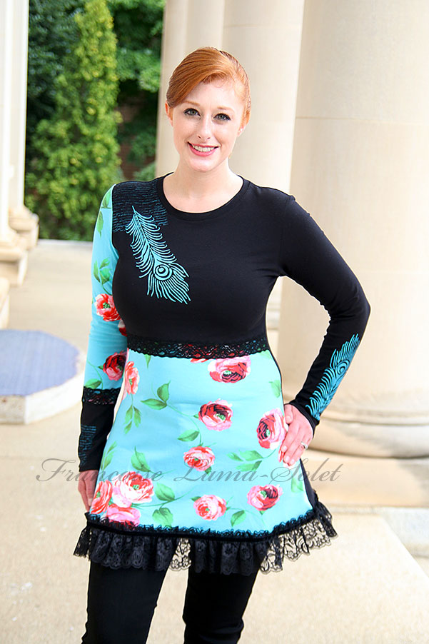 Colorful black turquoise peacock feather floral ruffled tunic Flowers and Feathers