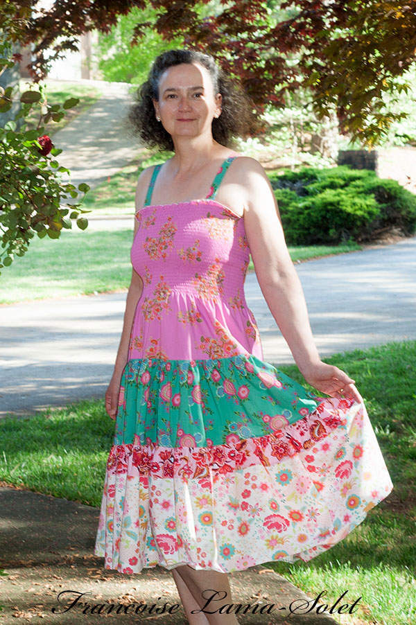 Womens colorful pink green bohemian tiered sundress Gipsy Girl