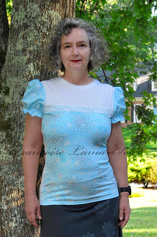 Women's art to wear fitted puff sleeve t shirt blouse handmade with light blue and off white cotton lycra jersey and hand printed - Glacier