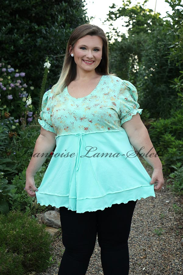 Women's artsy fashion empire waist tunic swing top with puff sleeves handmade with seafoam green cotton jersey and hand painted - Jade