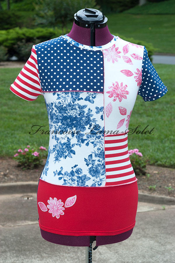 Womens patriotic patchwork t-shirt navy red white wearable art Julie tee