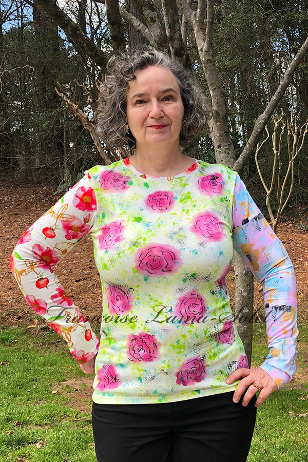 Womens long sleeve wearable art patchwork cotton tee hand painted and handmade with floral and abstract art in the shades pink, green, light pink and blue blue - Madison