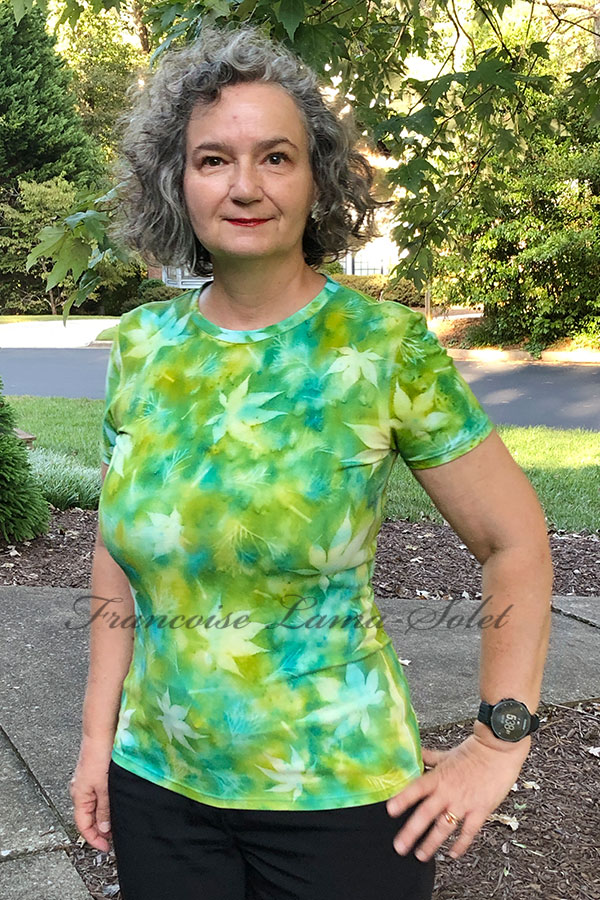 One of a kind cotton tee hand painted with watercolor aqua and green and sun printed with Japanese maple leaves – Maple Delight