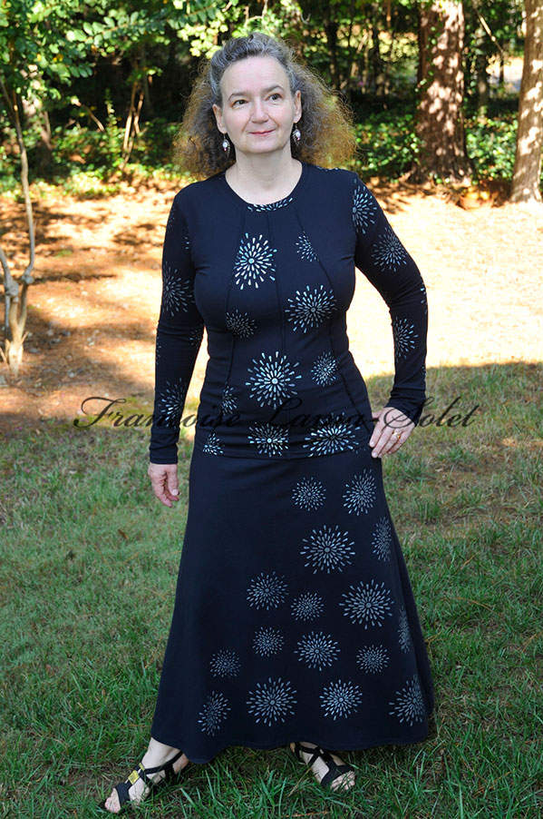 Womens handmade navy blue metallic silver art print maxi skirt Midnight Stars
