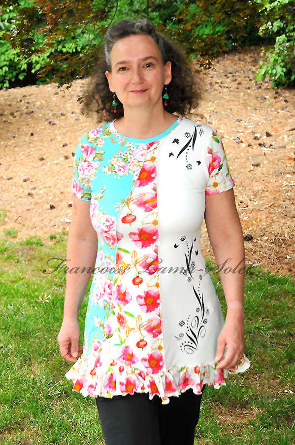 Colorful hand printed short sleeve floral asymmetrical ruffled tunic short dress Mint Bouquet