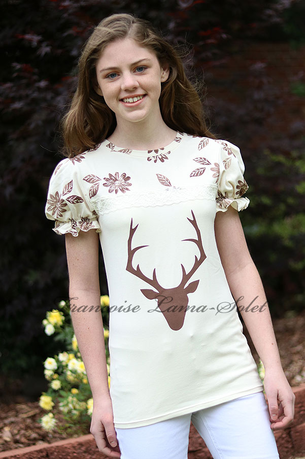 Ivory brown hand printed puff sleeve deer and flowers t-shirt top Nature Trail