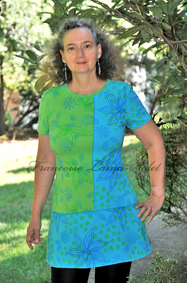 Handprinted turquoise a-line jersey tunic dress wearable art womens jersey top Olivia