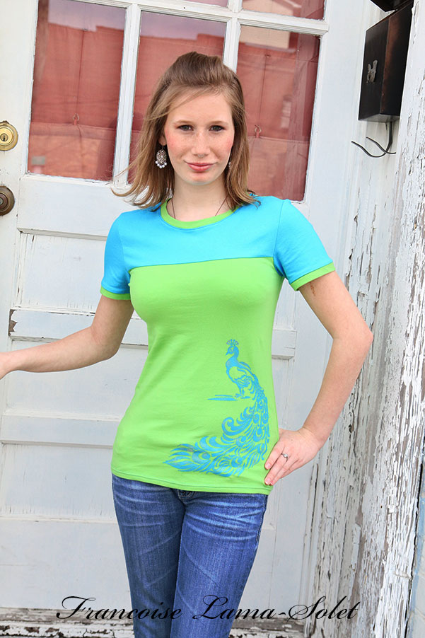 Colorblock turquoise lime short sleeve fitted t-shirt top Peacock