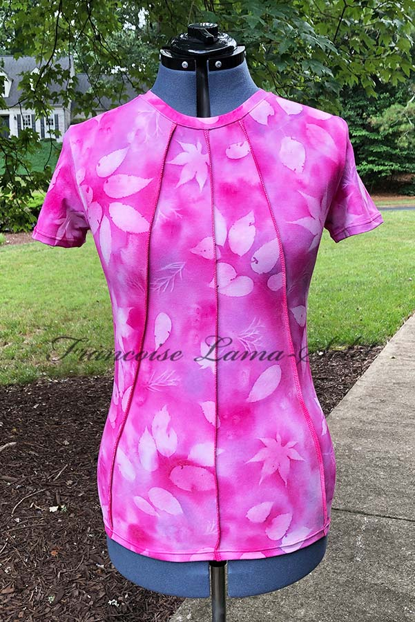 One of a kind bamboo cotton tee handmade, hand painted with pink lavender watercolor shades and sun printed with Japanese maple leaves – Pink Passion