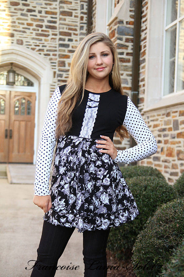 Black and white polka dot long sleeve floral tunic top, handmade fitted flared jersey blouse