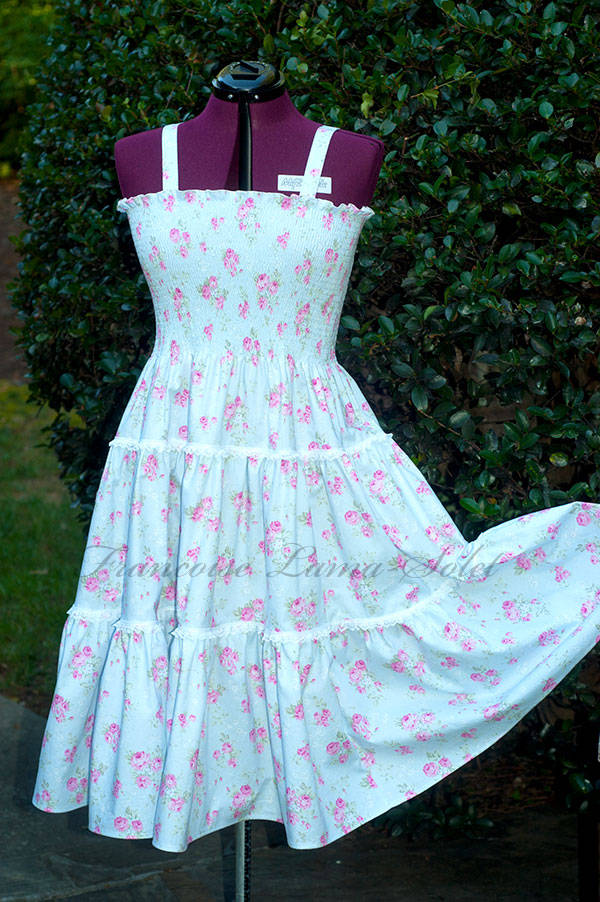 Women's tiered sundress handmade with a romantic chic blue pink cotton print and white lace Pretty Roses