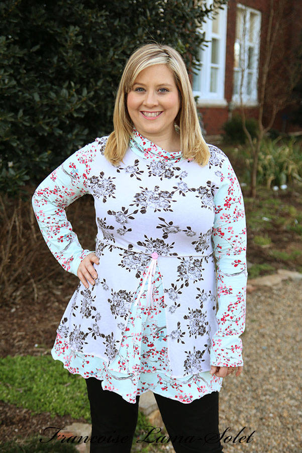 Romantic grey blue floral tunic top for women, long sleeve jersey blouse, cowl neck fitted flared shirt, plus size jersey tunic top, Shabby chic Roses long shirt