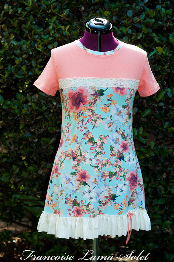 Women feminine romantic coral mint floral spring summer ruffled Sorbet