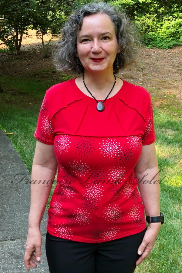 Women's everyday short sleeve red fitted t-shirt handmade with urban cut and hand printed with black and white stars Star Ruby