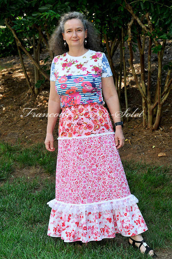 Pink red white A-line maxi skirt, bohemian gypsy long skirt ruffled country tiered skirt