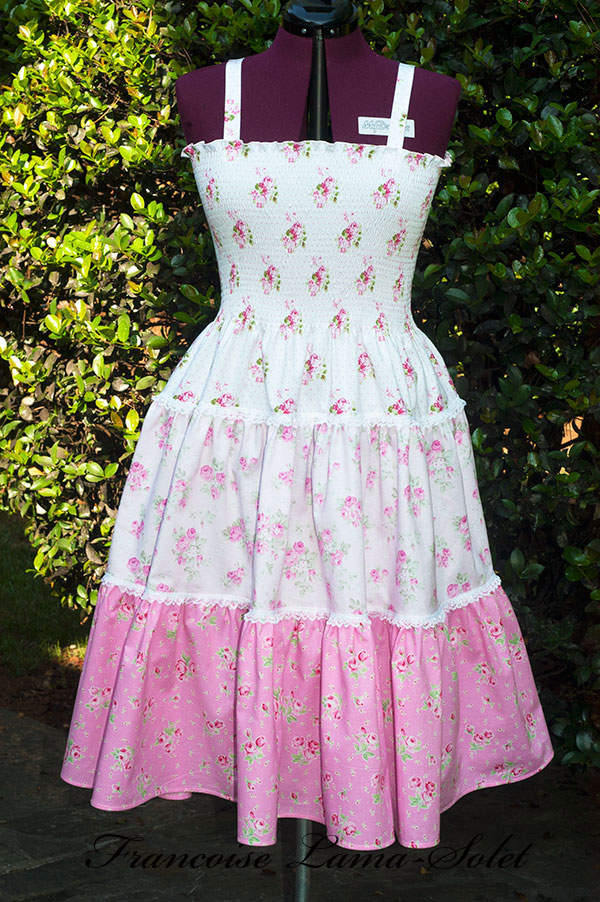 Romantic shabby chic white pink floral tiered dress, spring summer women's patchwork sundress, hippie boho flared dress