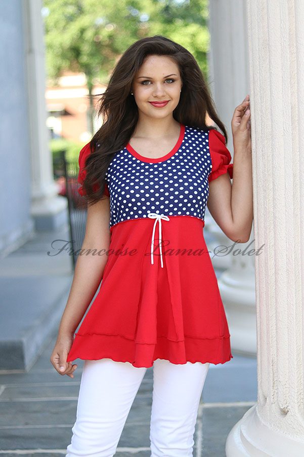 Red blue white polka dot swing top, patriotic 4th of July top, fitted flared tunic Victoria