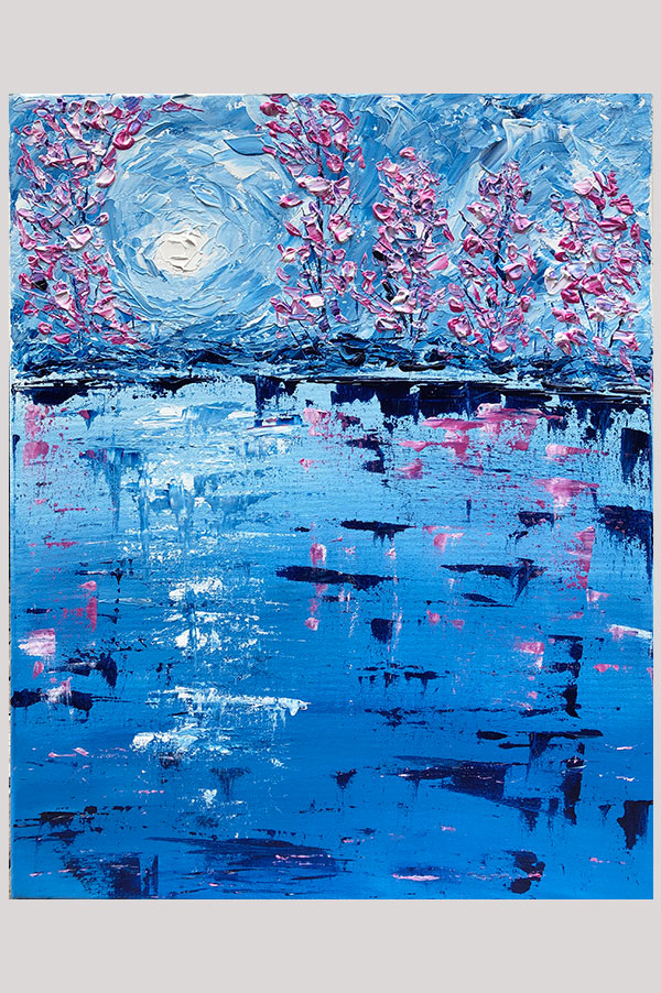 Original textured abstract landscape painting of cherry tree blossoms in the shades blue, pink and white - Blossom Reflection