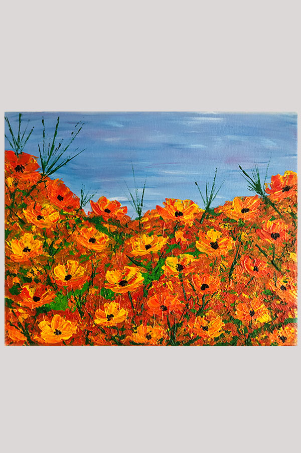 Original abstract painting of California poppy flowers on canvas with texture and palette knife work - California Poppies