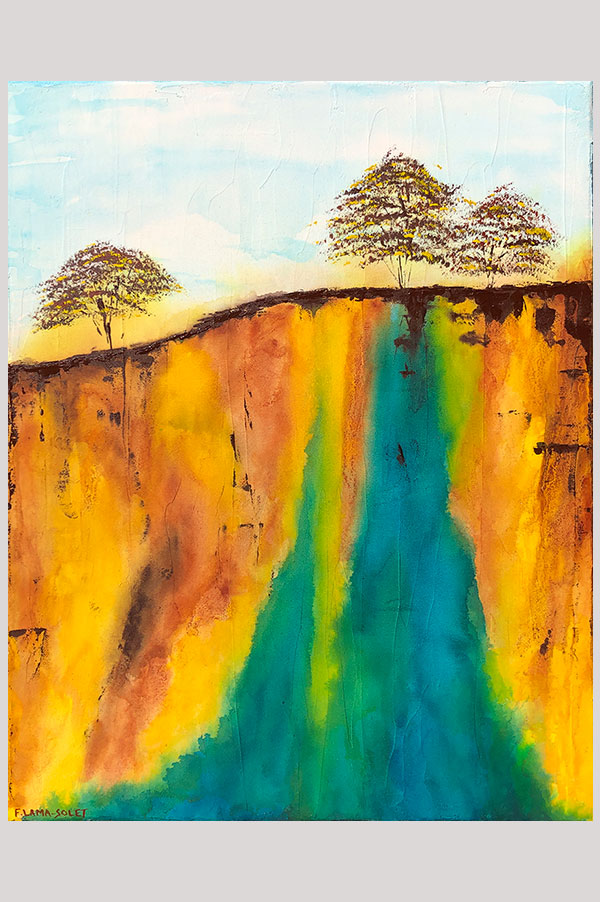 Original mixed media earth tone wall art on canvas board featuring a landscape with turquoise waterfalls – Canyon Falls