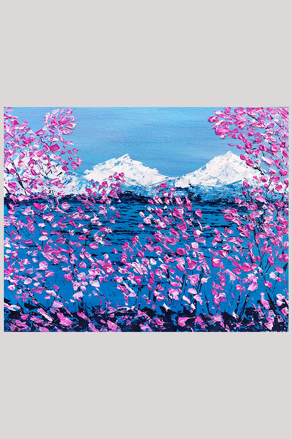 Colorful original blue and pink textured abstract landscape painting on canvas board featuring cherry blossoms and white mountains - Cherry Blossom Valley