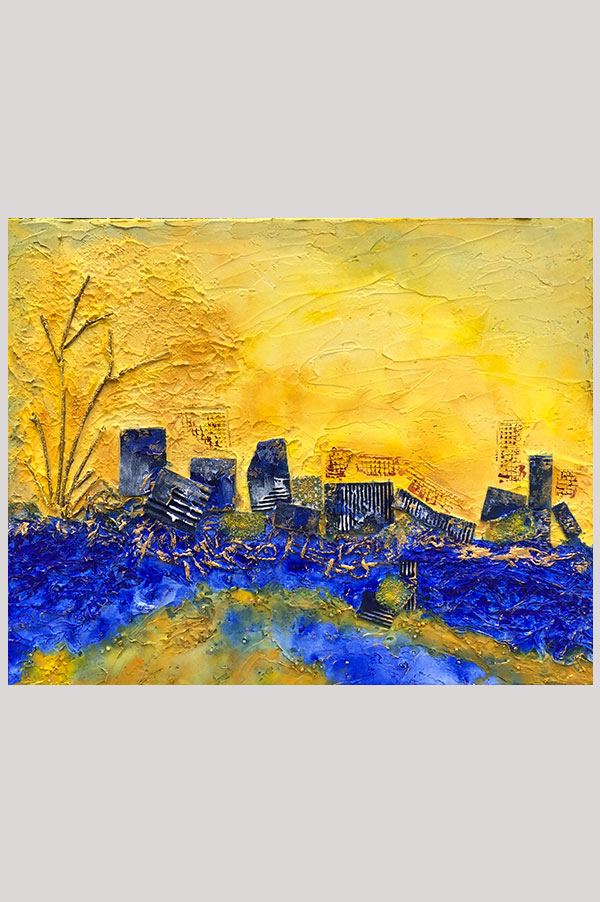 Original mixed media textured abstract landscape painting in the shades ultramarine blue and yellow representing an imaginary city - Cite Imaginaire