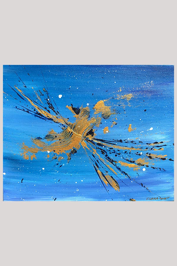 Small original contemporary abstract artwork on canvas panel in the shades blue and gold - Dragonfly